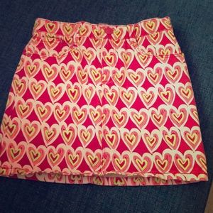 Heart patterned jean Skirt